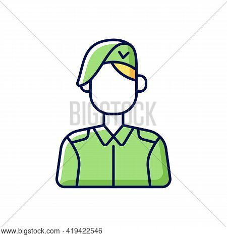 Korean Military Rgb Color Icon. Armed Force. Soldier In Uniform. Service Duty. Guard Officer. Person