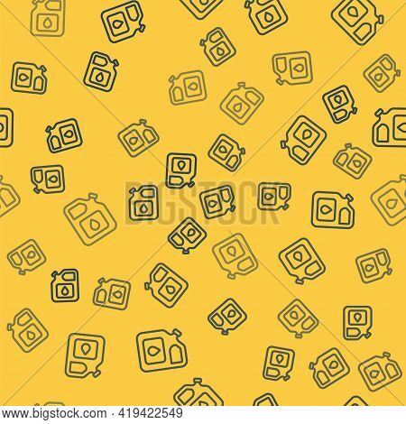 Blue Line Canister For Gasoline Icon Isolated Seamless Pattern On Yellow Background. Diesel Gas Icon