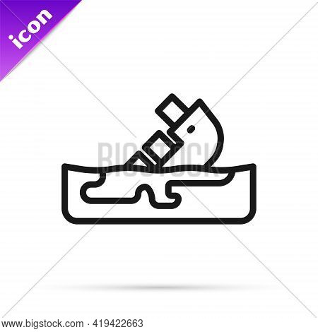 Black Line Wrecked Oil Tanker Ship Icon Isolated On White Background. Oil Spill Accident. Crash Tank
