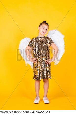 Smiling Child With Angel Wings. Childhood Happiness. Pretty Teenage Girl Love Cupid. Kid Fashion. Ch