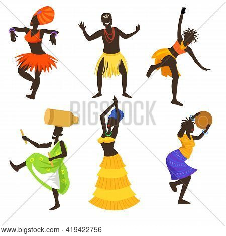 Set Of African People Dancing Tribal Dance. Cartoon Vector Illustration. Africans Wearing Traditiona