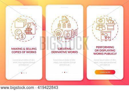 Exclusive Author Rights Onboarding Mobile App Page Screen With Concepts. Performing Works Publicly W