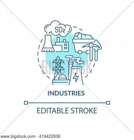 Industries Concept Icon. Outdoor Air Pollutant Idea Thin Line Illustration. Waste Incinerators. Dyei