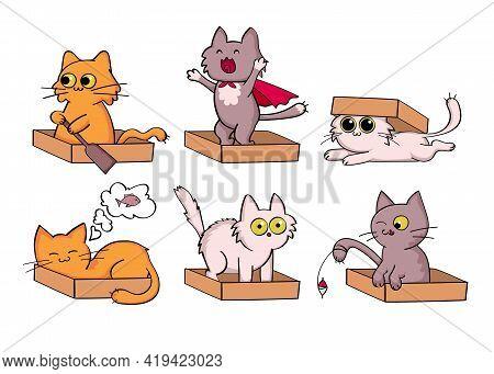 Cat Cartoon Characters Sticker Set. Flat Vector Illustration. Funny Pets Sleeping, Fishing, Hiding,
