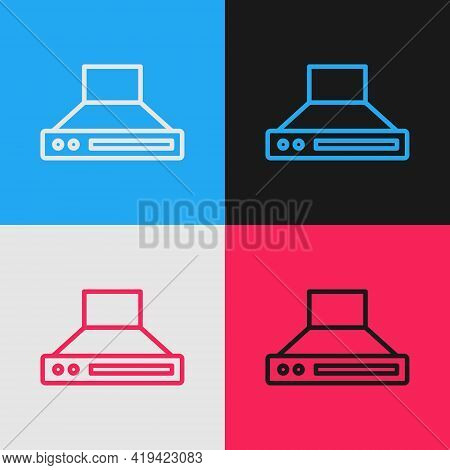 Pop Art Line Kitchen Extractor Fan Icon Isolated On Color Background. Cooker Hood. Kitchen Exhaust.