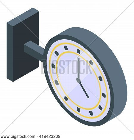 Railway Watch Icon. Isometric Of Railway Watch Vector Icon For Web Design Isolated On White Backgrou