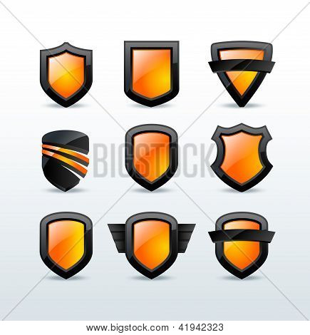 Set of black shiny shield icons vector illustration