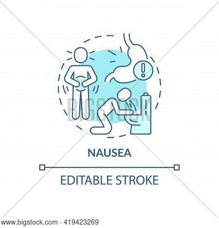 Nausea Concept Icon. Air Pollution Disease Symptom Idea Thin Line Illustration. Vomiting. Stomach Di