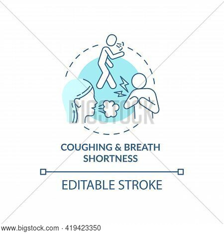 Coughing And Breath Shortness Concept Icon. Air Pollution Disease Idea Thin Line Illustration. Wheez