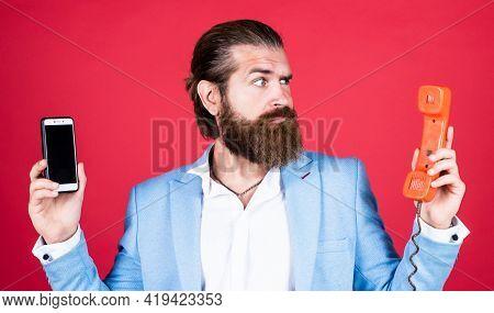 Hard Choise. Elegant Businessman Has Business Talk. Communication. True Gentleman With Groomed Hair