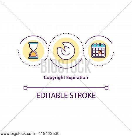 Copyright Expiration Concept Icon. Exclusive Intelectual Rights Are Subject To Specific Time Limit I