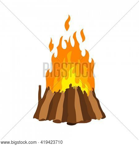 Fireplace campfire. Burning fire travel and adventure symbol.  bonfire or woodfire in cartoon flat style. A tourist bonfire in the form of stack hut pyramid well blazing with yellow-red fire