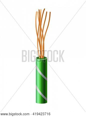 Electrical copper cable. Electric wire. Connection power cable power in realistic colored for network. Head element of electrical installation works