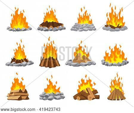 Fireplace campfire different types. Burning wood collection, travel and adventure symbol.  bonfire or woodfire in cartoon flat style set. A tourist bonfires in the diferent form of stack
