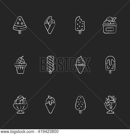 Ice Cream Varieties Chalk White Icons Set On Black Background. Watermelon Shape On Stick. Soft Serve