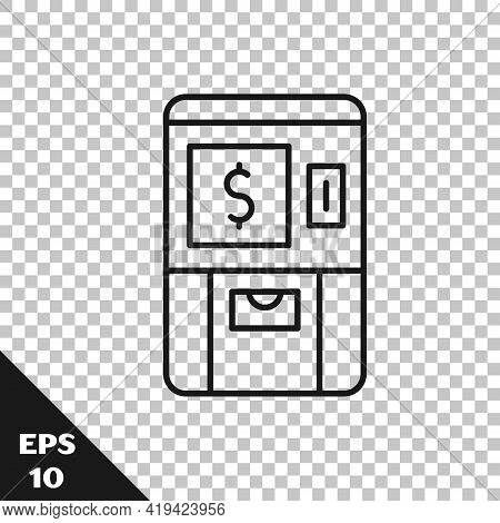 Black Line Atm - Automated Teller Machine And Money Icon Isolated On Transparent Background. Vector