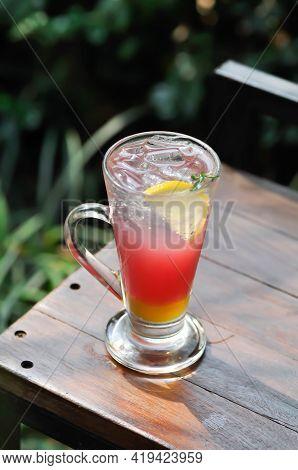 Lemon Soda Or Tonic, Soda And Lime Slice , Punch