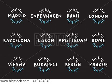 Set Of European Cities Design Template Icon Titles. Vector Illustration.