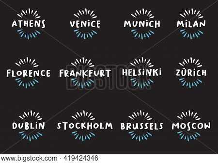 Set Of European Cities Design Template Icon Titles. Vector Illustration.