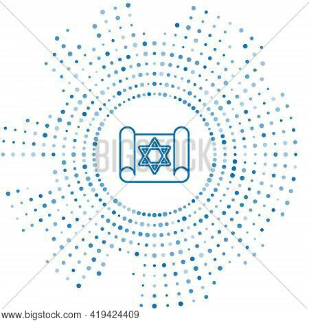 Blue Line Torah Scroll Icon Isolated On White Background. Jewish Torah In Expanded Form. Star Of Dav