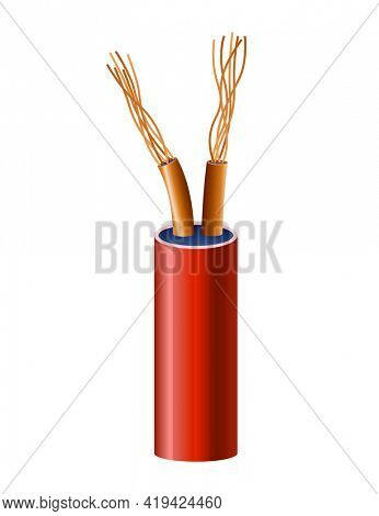 Electrical copper cable. Electric wire. Connection power cable power in realistic colored for electricity. Head element of electrical installation works