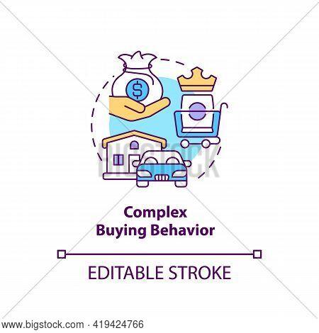 Complex Buying Behavior Concept Icon. Consumer Behavior Type Idea Thin Line Illustration. Buying Exp