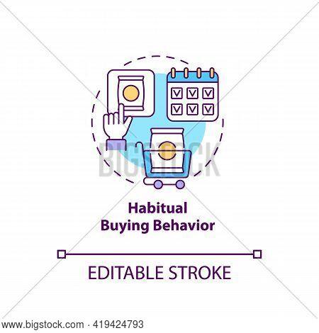 Habitual Buying Behavior Concept Icon. Consumer Behavior Idea Thin Line Illustration. Low Involvemen