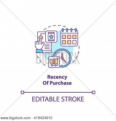 Purchase Recency Concept Icon. Rfm Model Analysis Idea Thin Line Illustration. Depicting Consumer Be