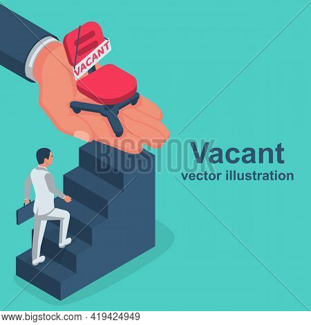Offer Vacancy. Vacant Concept. Businessman Running To A New Job. Vector Flat Design. Career Position