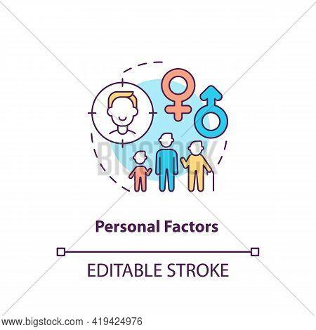 Personal Factors Concept Icon. Purchase Decision Factor Idea Thin Line Illustration. Consumer Age An