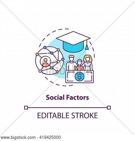Social Factors Concept Icon. Purchase Decision Factor Idea Thin Line Illustration. Socioeconomic Sta