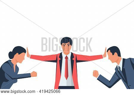 Stop Conflict. Man And Woman Versus. Businessman Referee Finds Compromise. Mediator Solving Competit