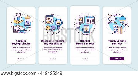 Consumer Behavior Types Onboarding Mobile App Page Screen With Concepts. Complex Buying Behaviour Wa