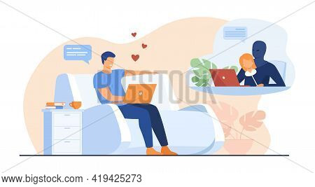 Cartoon Man Facing False Impersonation. Flat Vector Illustration..young Man Texting With Someone Pre