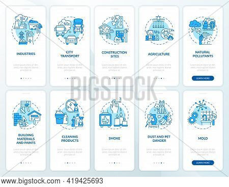 Indoor And Ambient Air Pollutants Onboarding Mobile App Page Screen With Concepts Set. Contagion Wal