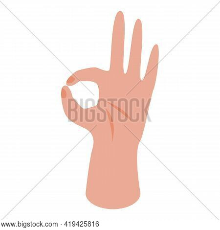 Ok Hand Gesture Icon. Isometric Of Ok Hand Gesture Vector Icon For Web Design Isolated On White Back