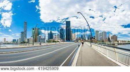Brisbane skyline with skyscrapers across the Brisbane river. Queensland, Australia. Panoramic photo