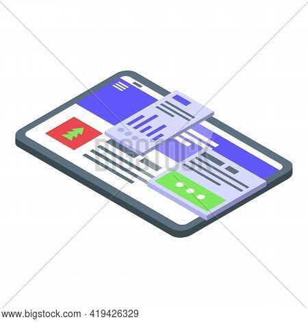 Gadget Interface Icon. Isometric Of Gadget Interface Vector Icon For Web Design Isolated On White Ba