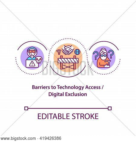 Barriers To Technology Access Concept Icon. Digital Exclusion Idea Thin Line Illustration. Resources