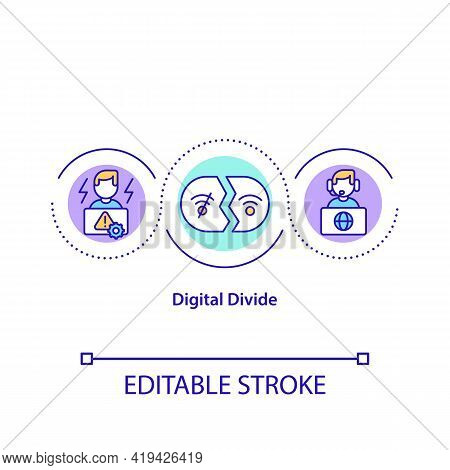 Digital Divide Concept Icon. Technological Gap Idea Thin Line Illustration. Socio-economic Division.
