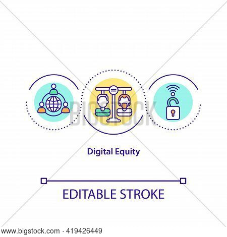 Digital Equity Concept Icon. Equal Access To Information Technology Idea Thin Line Illustration. Tec