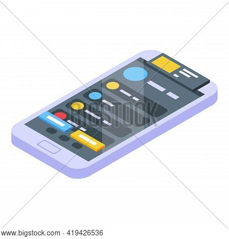 Mobile Interface Icon. Isometric Of Mobile Interface Vector Icon For Web Design Isolated On White Ba