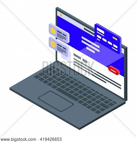 Computer Interface Icon. Isometric Of Computer Interface Vector Icon For Web Design Isolated On Whit