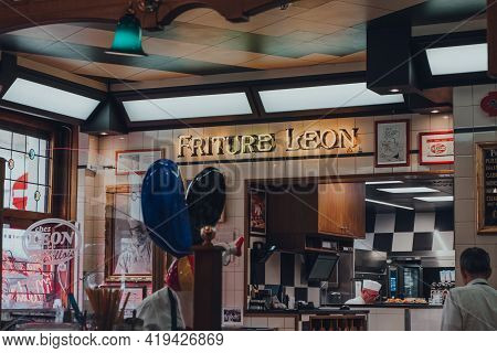 Brussels, Belgium - August 16, 2019: Friture Leon Sign Inside Chez Leon, A Family-owned Restaurant I