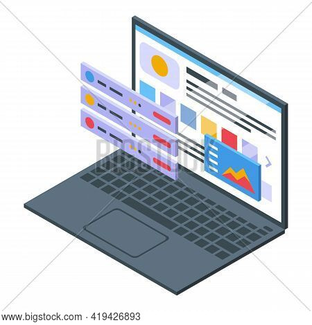 Software Interface Icon. Isometric Of Software Interface Vector Icon For Web Design Isolated On Whit