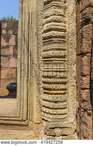 Carved Stone Column Of Prasat Hin Phimai Historical Park In Nakorn Ratchasima, Thailand