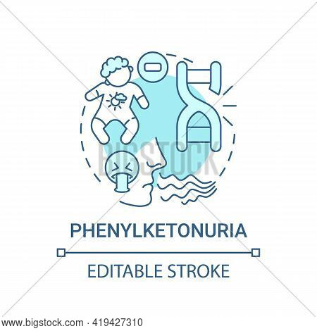Phenylketonuria Blue Concept Icon. Disability From Inherited Illness. Metabolism Issue. Genetic Dise