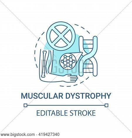 Muscular Dystrophy Blue Concept Icon. Health Issue. Chromosome Mutation. Hereditary Illness. Genetic