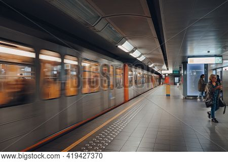 Brussels, Belgium - August 16, 2019: Train Departing Brussels Metro Station. Consisting Of Four Metr