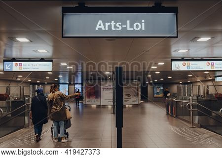 Brussels, Belgium - August 16, 2019: Name Sign Inside Arts-loi Metro Station In Brussels, The Capita